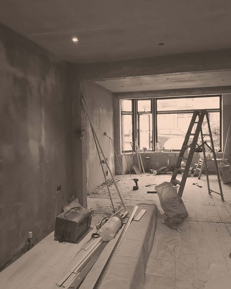 Freshly plastered walls within a house